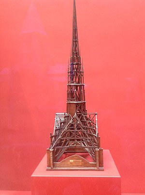 "Model of the spire and ""forest"" of wooden roof beams made for Eugene Viollet-le-Duc (1859) (Museum of Historic Monuments, Paris) Notre-Dame Spire Model (1859).jpg"
