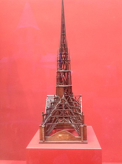 Model of the spire and wooden roof made for Eugene Viollet-le-Duc (1859) (Museum of Historic Monuments, Paris) Notre-Dame Spire Model (1859).jpg