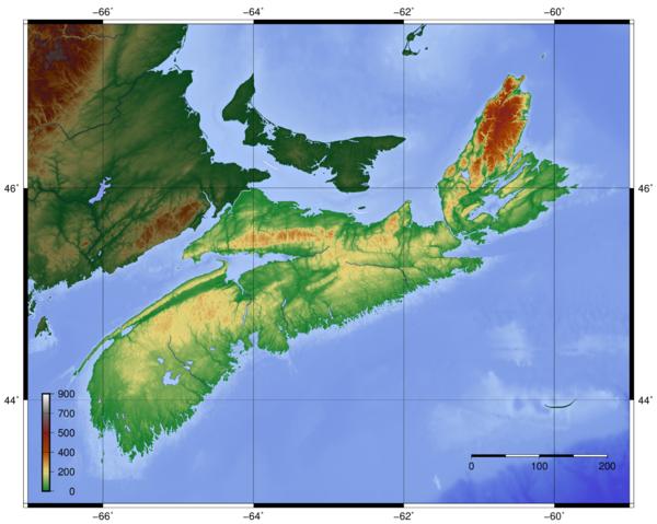Topo Map Cape Breton Island