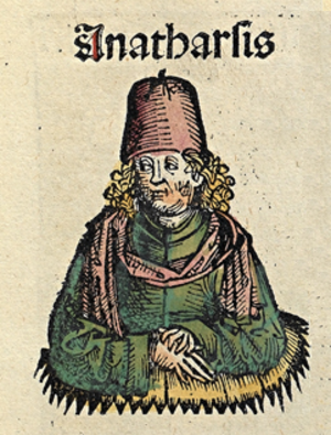 Anacharsis - Anacharsis, depicted as a medieval scholar in the Nuremberg Chronicle