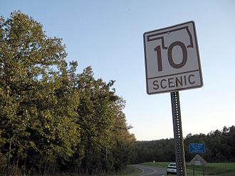 Oklahoma State Highway 10 - Scenic SH-10 signage in Adair County, north of the Illinois River area.