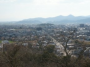 Ogi city cityscape from view space of Chiba Castle Ruin.jpg
