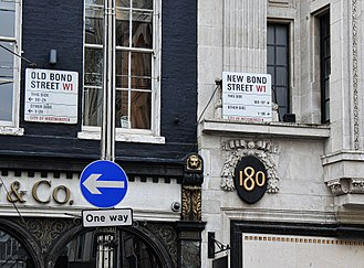 Bond Street - Bond Street has always been divided into two sections: Old Bond Street to the south and New Bond Street to the north. The London branch of the jeweller Tiffany & Co. is next to the divide, on the Old Bond Street side.