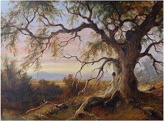 James Howe Carse - Old Gum Tree at Riddells Creek, c.1870, oil on board