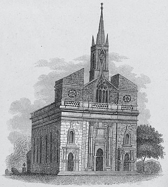 The original St. Patrick's Cathedral, as it appeared during Fenwick's time there Old St. Patrick's Cathedral on Mott Street, NYC 1831.jpg