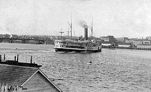 Olympian (sidewheeler) - Olympian turning in Victoria BC harbor, 1890s