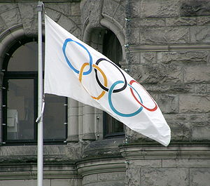 English: The Olympic Flag flying in Victoria, ...
