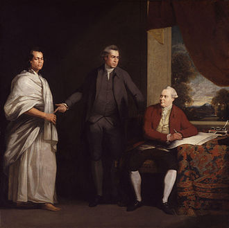 Joseph Banks - Sir Joseph Banks (center), together with Omai (left) and Daniel Solander, painted by William Parry, c. 1775–76.