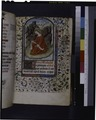 Opening of main text, miniature of John the Evangelist, border design, 3-line initial, rubric (NYPL b12455533-425837).tif