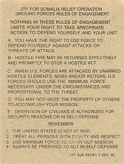 Rules of engagement Guidelines for military force