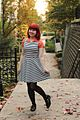 Orange Blouse Under a Striped Fit and Flare, Black Tights, and Black Ankle Boots (22451512850).jpg