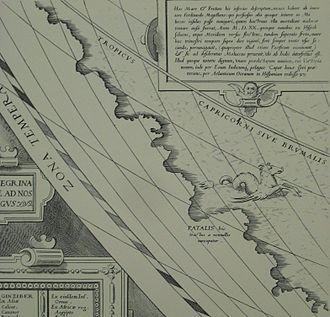 Regio Patalis - Regio Patalis as part of Terra Australis: Abraham Ortelius, Typus Orbis Terrarum, 1564.