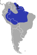Suriname, Guyana, French Guiana, eastern Venezuela, and northwestern Brazil stretching over into Bolivia, Peru, and Colombia