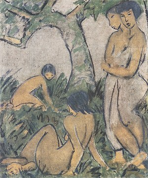 Otto Mueller - Otto Mueller, 1911: 'Bathers / Badende', glue paint on plucking; location: unknown