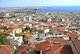 Overlooking modern Thessaloniki seafront from Old Town 2006.jpg