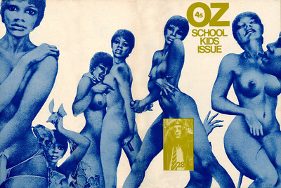 "Oz number 28, also known as the ""Schoolkids issue of OZ"", which was the main cause of a 1971 high-profile obscenity case in the United Kingdom. Oz was a UK underground publication with a general hippie / counter-cultural point of view. Oz Mag Number 28.png"