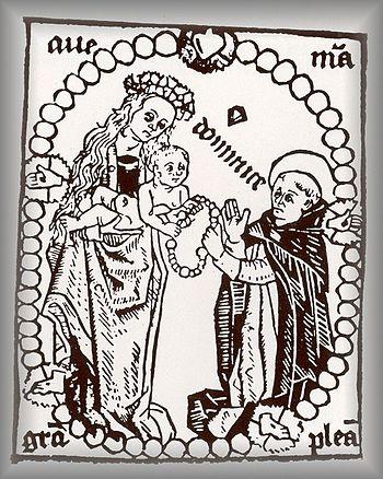 English: Saint Dominique reçoit le rosaire