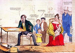 Panic of 1837 - Whig cartoon showing the effects of unemployment on a family that has portraits of Andrew Jackson and Martin Van Buren on the wall