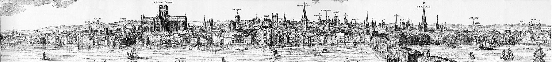 Panoramo de la City de Londono en 1616 fare de Claes Visscher. Atentu la altajn konstruaĵojn sur la ponto de Londono: ili konsistigis famaĉajn kaptilojn en kazo de fajro, kvankam multaj estis jam detruitaj de pli frua incendio en 1632.