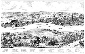 Panorama of London - Image: Panorama of London in 1543 Wyngaerde Section 1
