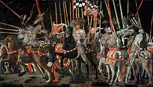 Micheletto Attendolo - The decisive attack of Micheletto Attendolo at San Romano, part of The Battle of San Romano triptych by Paolo Uccello. Musée du Louvre, Paris.