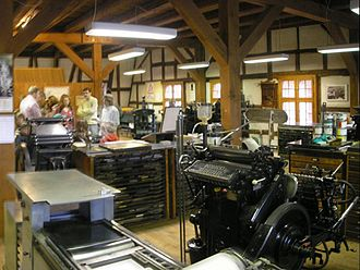 Letterpress printing - A modern letterpress workshop at the Basel Paper Mill, Basel, Switzerland