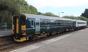 British Rail Class 153 - Image: Par GWR 153305+153318 leaving westwards