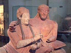 Etruscan society - Etruscan couple (Louvre, Room 18)