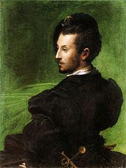 Ritratto virile su sfondo verde