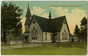 New Kensington, Pennsylvania - Parnassus Presbyterian Church on an old postcard