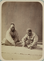 Pastimes of Central Asians. Two Male Actors with Painted Faces and Artificial Beards Playing a Board Game WDL10817.png