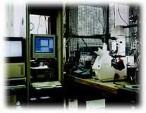 Patch clamp - Classical patch clamp setup, with microscope, antivibration table, and micromanipulators