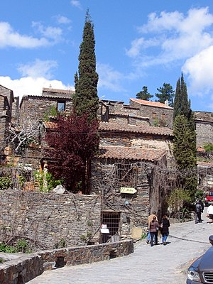 General view of the ancient village (Patones Arriba) with its characteristic slate pavements and buildings