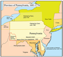 A map of the Province of Pennsylvania.