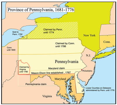 A map of Pennsylvania and the competing land claims. Penncolony.png
