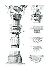پلان و جزئیات ستونهای تخت جمشید (پارسه)