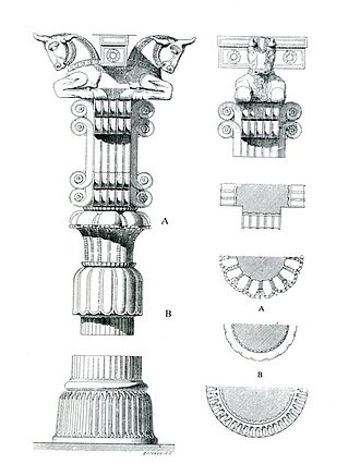 Persian column - Plan, front view and side view of a typical Persepolis column