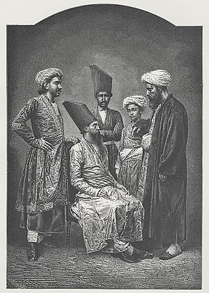 "Dabestan-e Mazaheb - ""Parsis of Bombay"" with traditional Parsi hats, a wood engraving, ca. 1878"