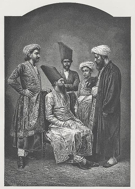 """Parsees of Bombay"" a wood engraving, c. 1878 Persians (Parsees) in Bombay 1873.jpg"