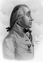 Black and white print of a man in profile from head to chest. He wears a light-colored coat and his hair is pulled back into a queue.