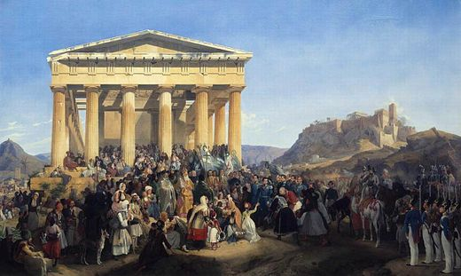 The Entry of King Otto in Athens, painted by Peter von Hess in 1839. Peter von Hess - The Entry of King Othon of Greece in Athens - WGA11387.jpg