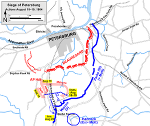 Battle of Globe Tavern - Siege of Petersburg, capture of the Weldon Railroad, August 18–19
