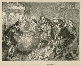 Mid-19th century print of Act 4, Scene 3 (Petruchio rejects the tailor's gowns for Katherina) Petruchio rejects the gowns.jpg