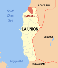 Map of La Union showing the location of Bangar