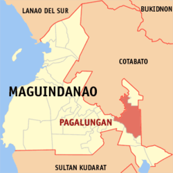 Map of Maguindanao showing the location of Pagalungan