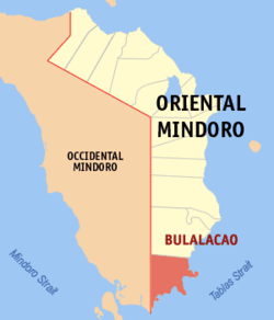 Map of Oriental Mindoro with Bulalacao highlighted