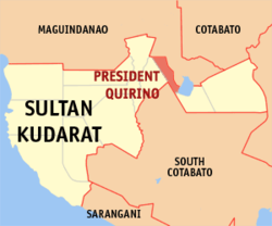 Map of Sultan Kudarat with President Quirino highlighted