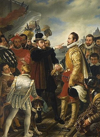 Philip II of Spain berating William the Silent, Prince of Orange, by Cornelis Kruseman, painting from 19th century. This scene was purported to have happened on the dock in Flushing when Philip departed the Netherlands. Philip II of Spain berating William the Silent Prince of Orange by Cornelis Kruseman.jpg