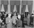 Photograph of Dean Acheson being sworn in as Secretary of State by Chief Justice Fred Vinson, as President Truman and... - NARA - 200074.tif