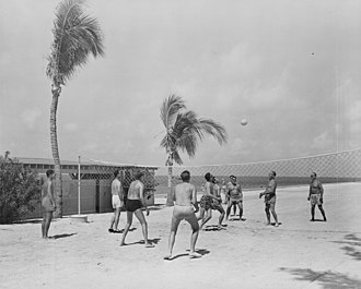 Beach volleyball - A beach volleyball game between members of President Harry S. Truman's vacation party at Key West, Florida in 1950
